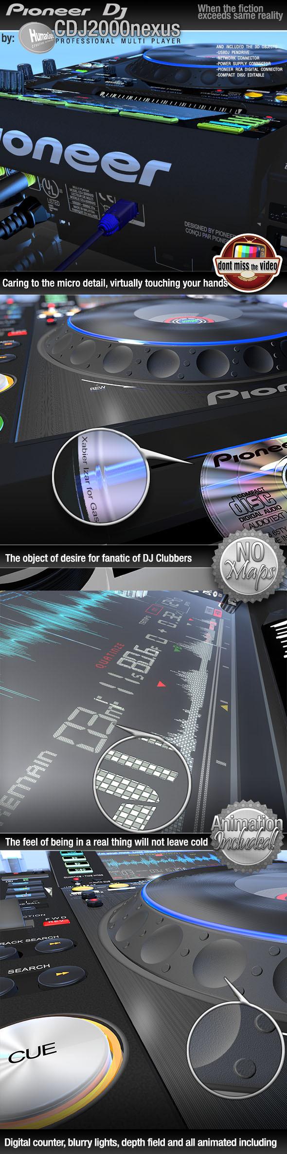 Realistic CD Player, Pioneer CDJ2000nexus black - 3DOcean Item for Sale