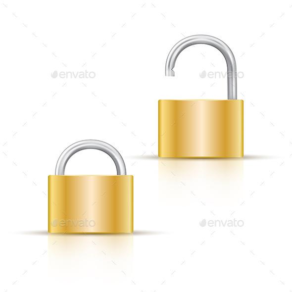 Locked and Unlocked Padlock Icon - Objects Vectors