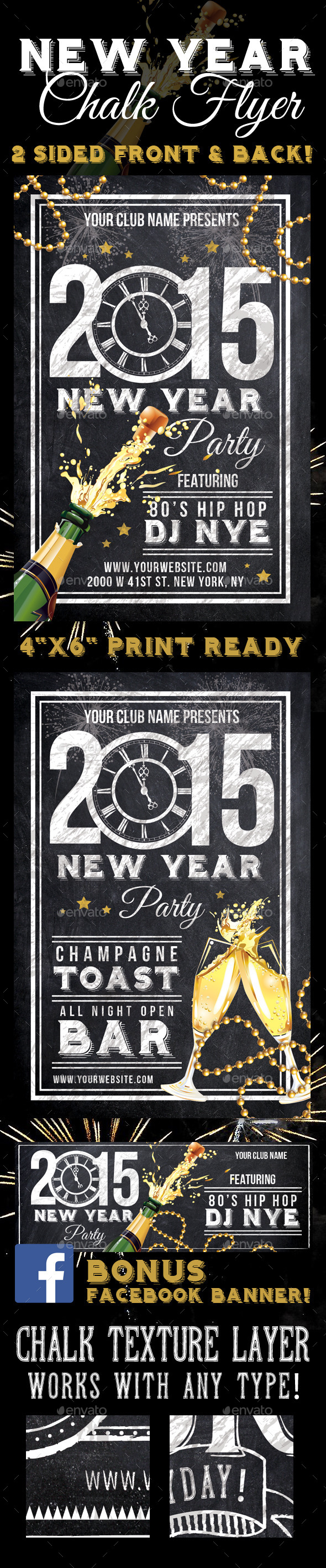 2015 New Years Party Chalk Flyer - Clubs & Parties Events