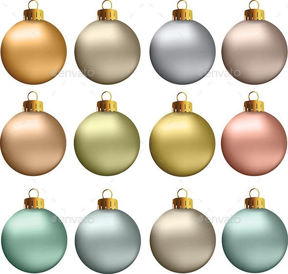 Christmas Balls Pastel Metallic Colors - Christmas Seasons/Holidays