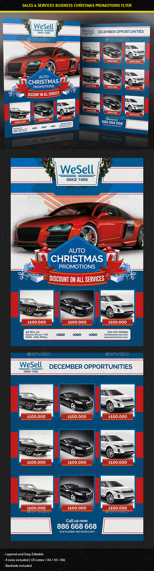 Sales and Services Christmas Promotions Flyer - Commerce Flyers