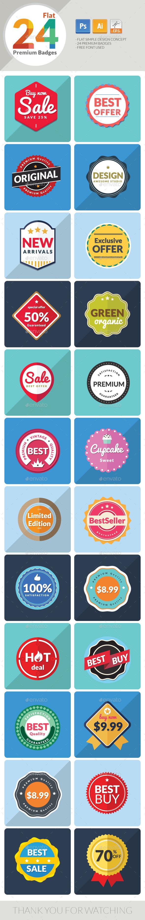 24 Flat Premium Badges - Badges & Stickers Web Elements