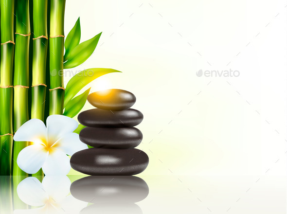 Spa Background with Bamboo and Stones - Health/Medicine Conceptual