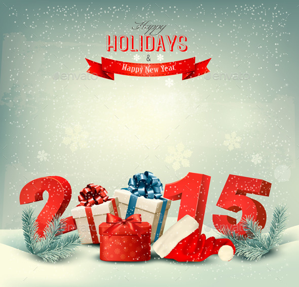 Holiday Background with Presents and a 2015 - New Year Seasons/Holidays