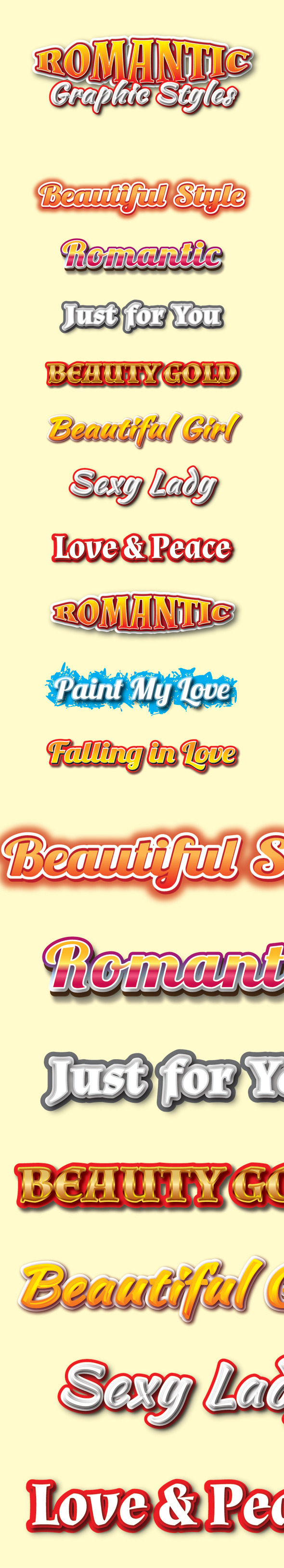 Romantic Graphic Styles for Ai - Styles Illustrator