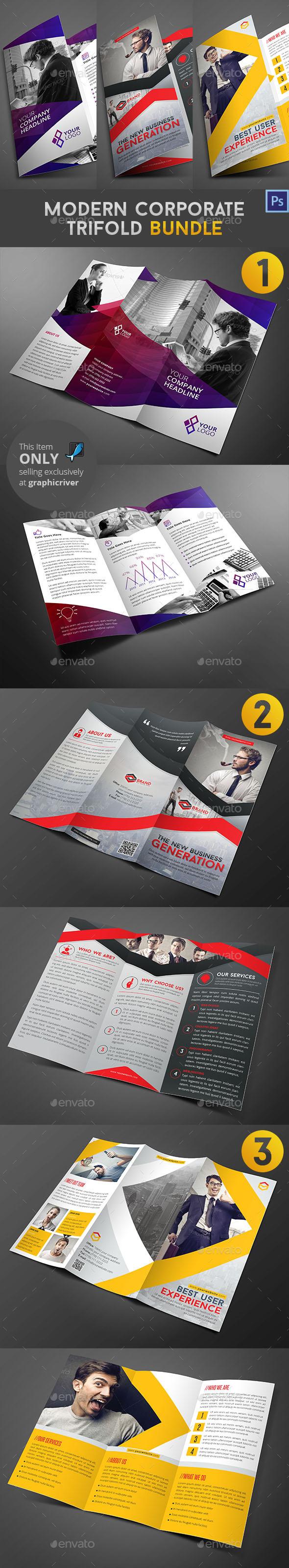 Modern Corporate Trifold Bundle - Corporate Brochures