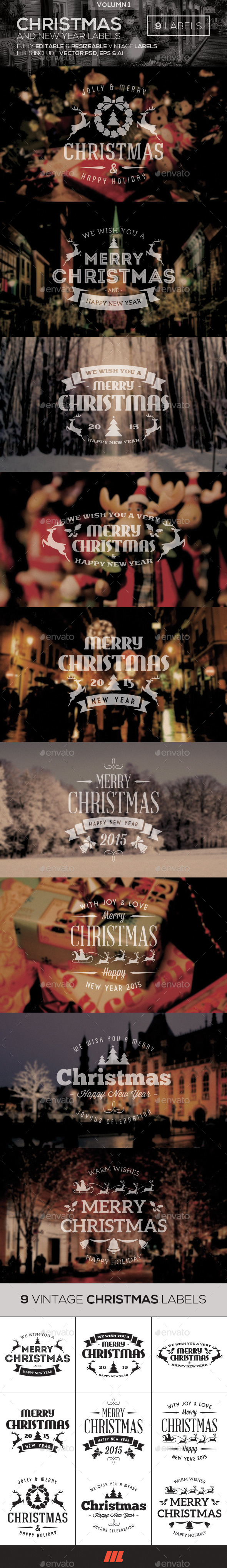 Christmas & New Year Vintage Labels - Badges & Stickers Web Elements
