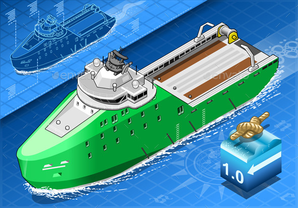 Isometric Ship Breaking the Ice in Navigation - Objects Vectors