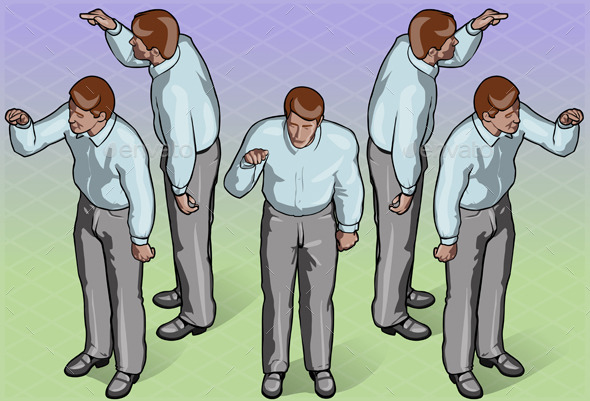 Isometric Standing Man Indicating Pose - People Characters