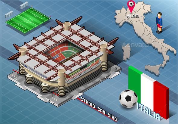 Isometric Stadium, San Siro, Milan, Italy - Buildings Objects