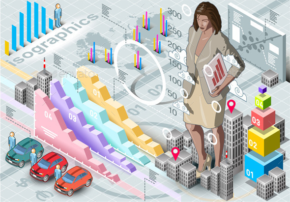 Isometric Infographic Woman Secretary Set Elements - Business Conceptual