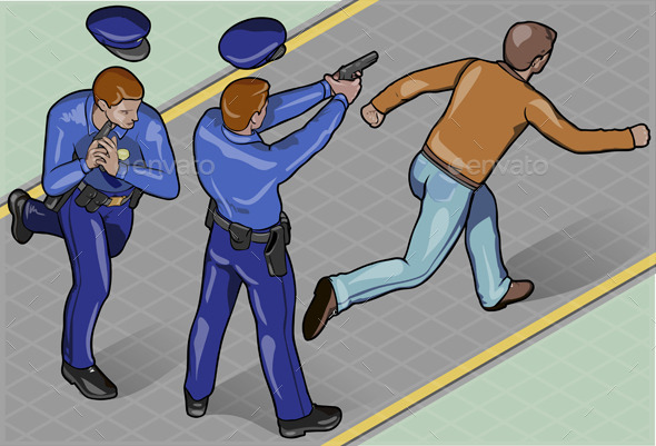 Isometric Policeman and Robber - People Characters