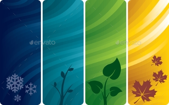 Four Abstract Backgrounds - Flowers & Plants Nature