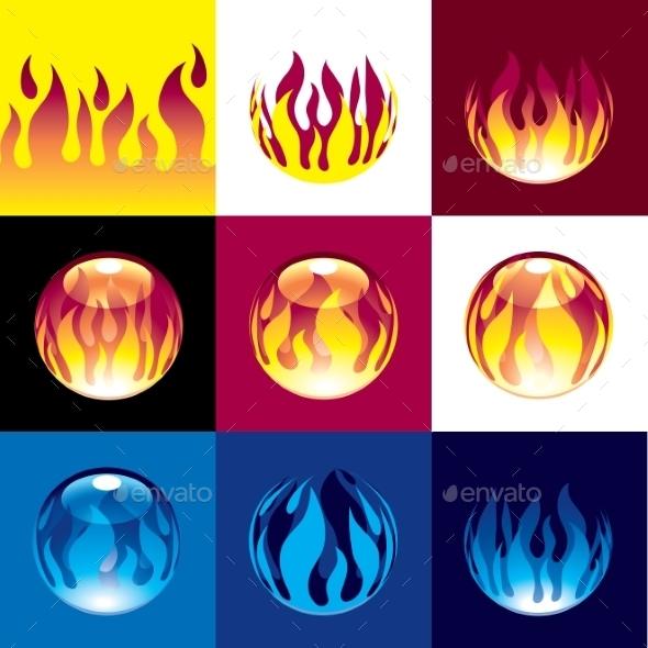 Flame Set - Web Elements Vectors