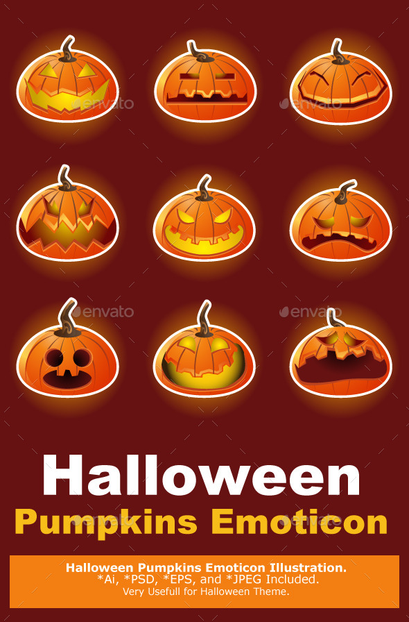 Halloween Pumpkin Character Emoticon Icons - Halloween Seasons/Holidays