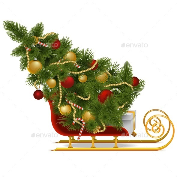 Vector Sled with Christmas Tree - Christmas Seasons/Holidays