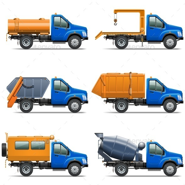 Vector Lorry Icons Set 5 - Industries Business