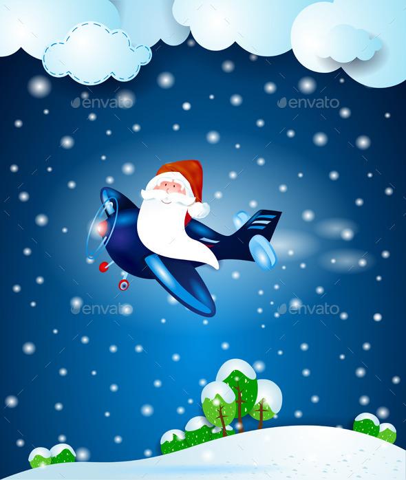 Santa Claus on the Airplane, by Night - Christmas Seasons/Holidays