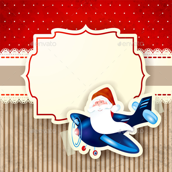 Santa Claus and the Airplane over Red Background - Christmas Seasons/Holidays
