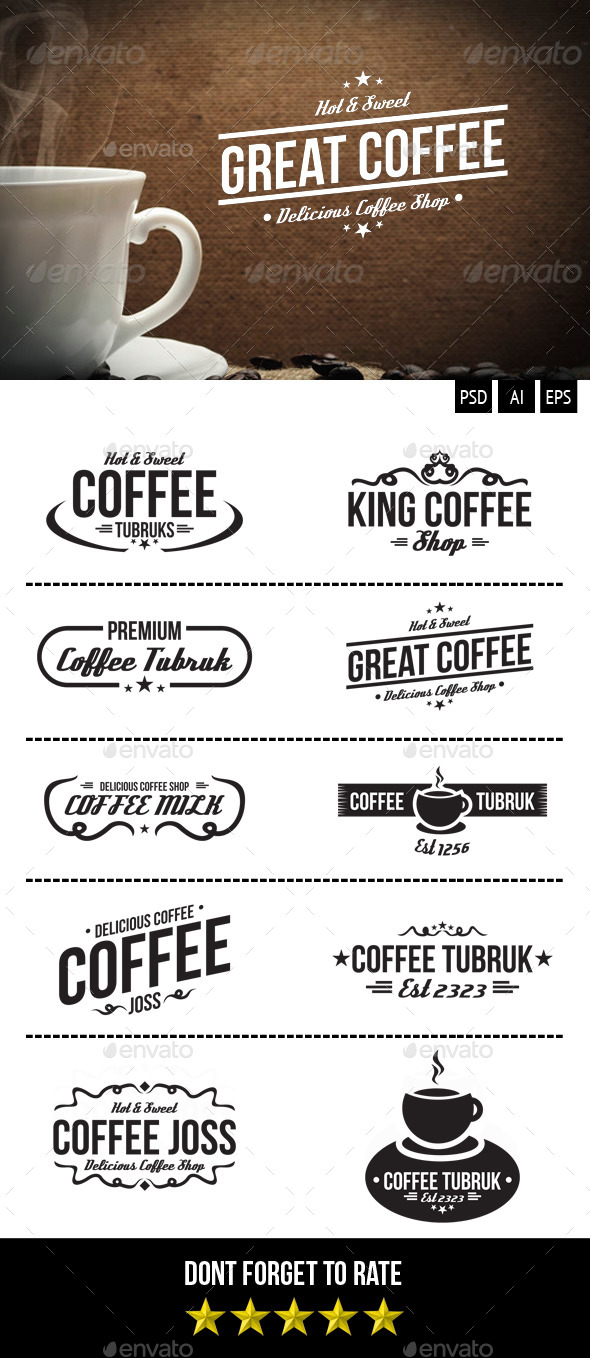 Retro Coffee Badges - Badges & Stickers Web Elements