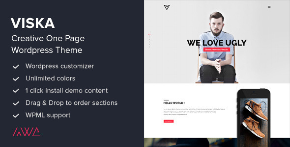 Viska - Creative One Page WordPress Theme - Portfolio Creative