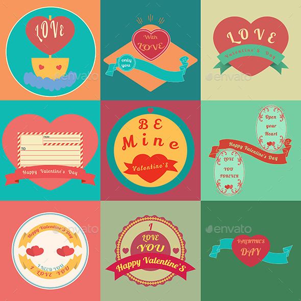 Happy Valentines Day Cards  - Decorative Symbols Decorative
