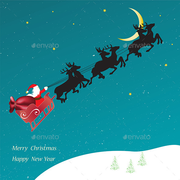 Christmas Card, Flying Sledge with Santa Claus - Seasons/Holidays Conceptual