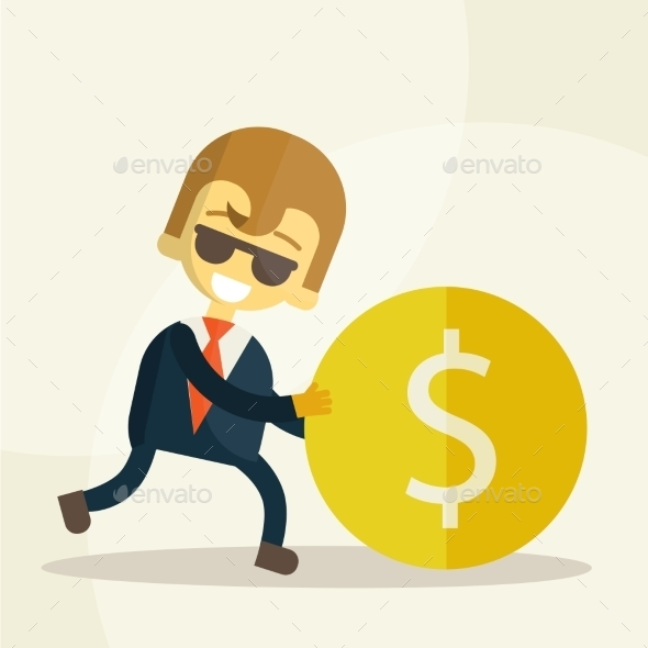 Businessman Rolls Coin - Business Conceptual