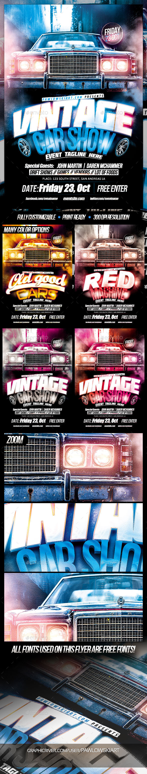 Vintage Car Show Event Flyer Template - Miscellaneous Events