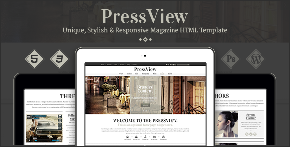 PressView - Vintage and Stylish Magazine Template - Entertainment Site Templates