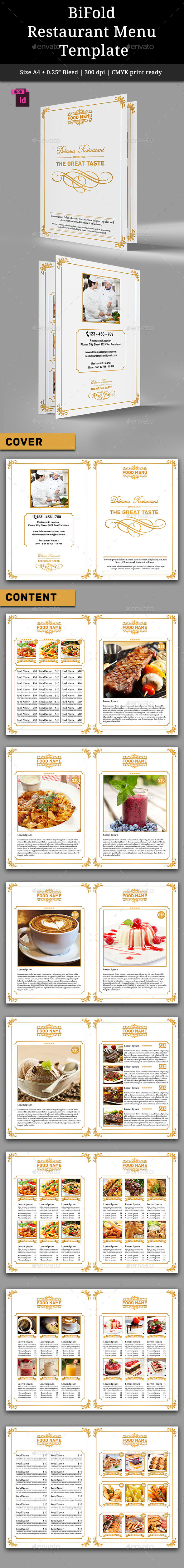 BiFold Restaurant Menu Vol. 3 - Food Menus Print Templates