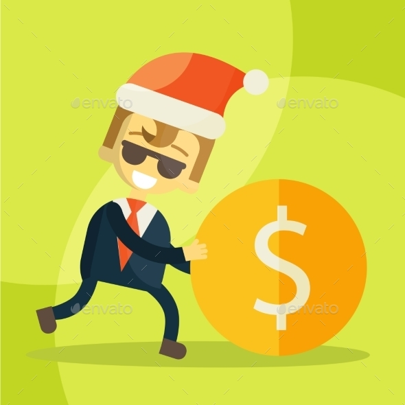 Businessman Rolls Coin, Christmas - Business Conceptual