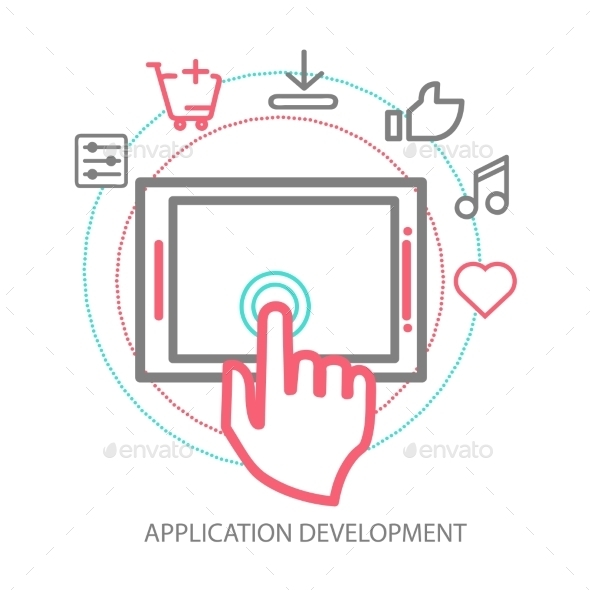 Vector Mobile App Development Concept - Web Technology