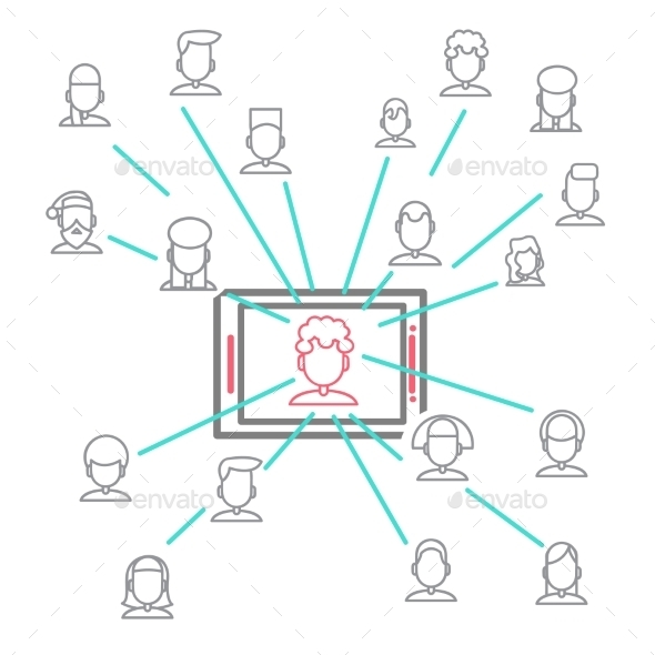 Social Networking People Conceptual Vector Design - Web Technology