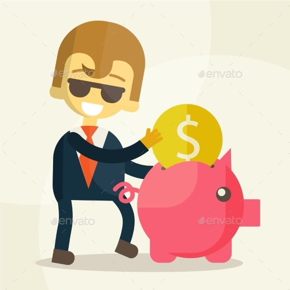 Businessman Putting Coin into Piggy Bank - Business Conceptual