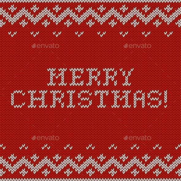 Card of Merry Christmas with Knitted Texture. - Christmas Seasons/Holidays