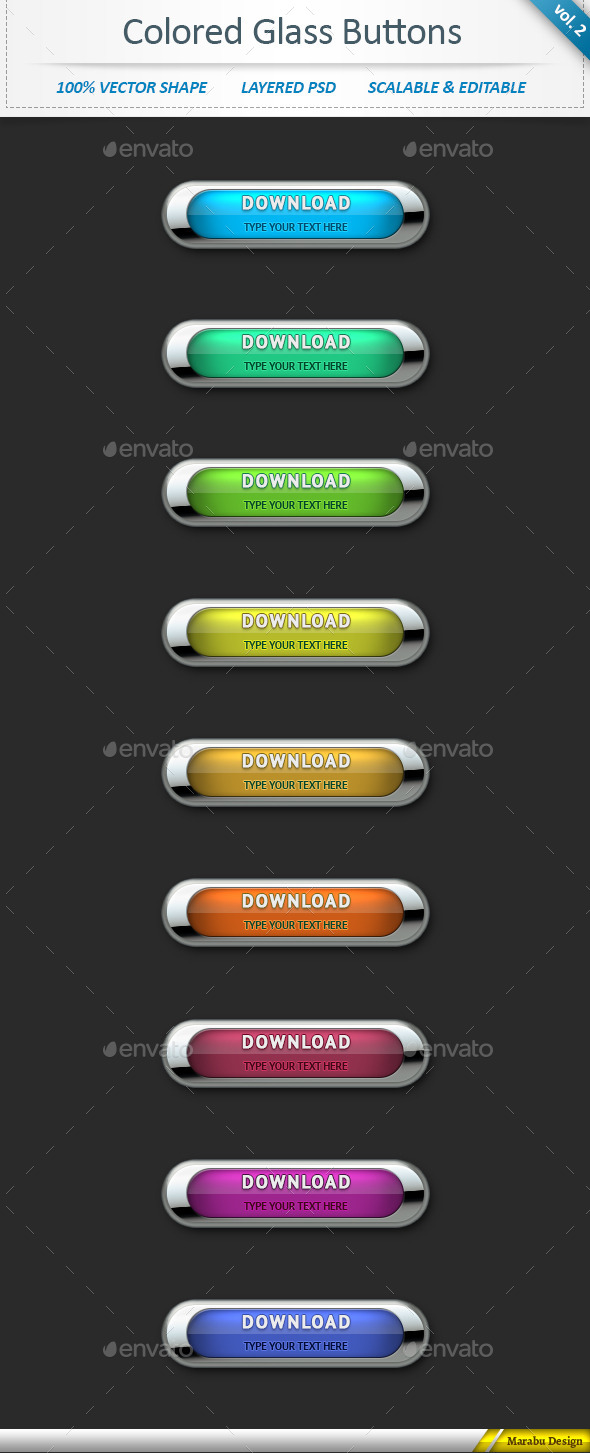 Colored Glass Download Web Buttons (vol 2) - Buttons Web Elements