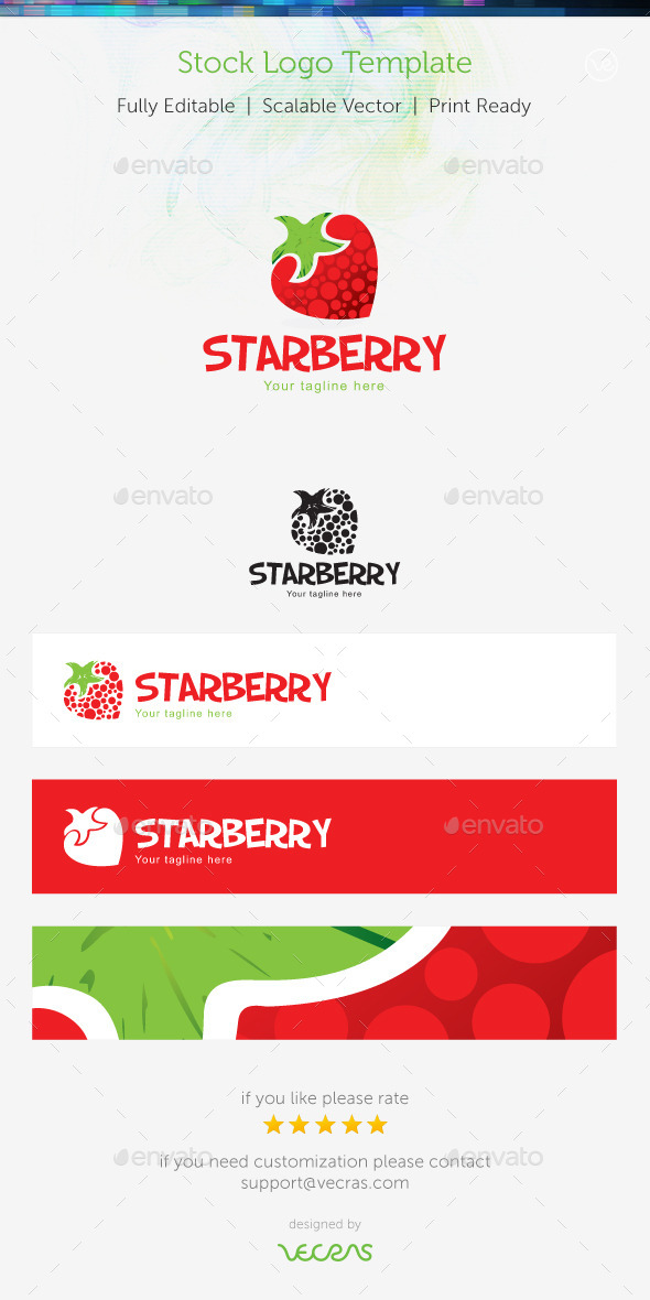 StarBerry Stock Logo Template  - Food Logo Templates