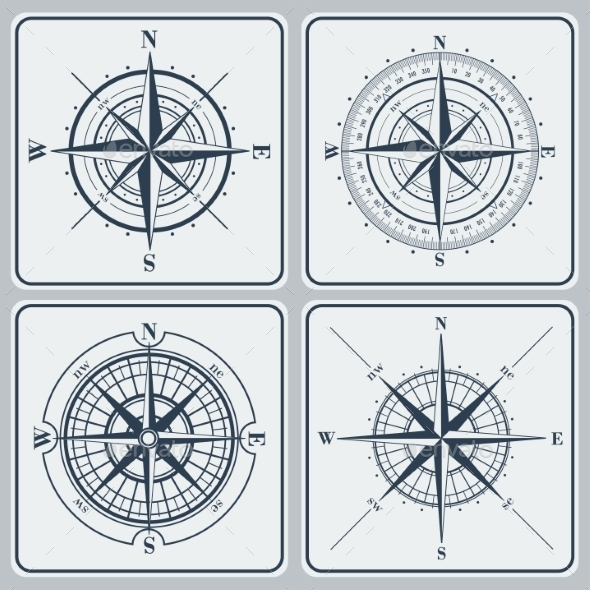 Set of Compass Roses  - Decorative Symbols Decorative