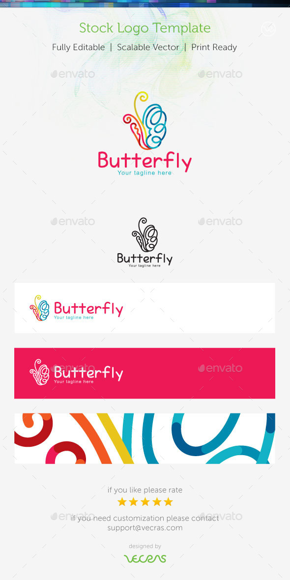 Butterfly Stock Logo Template  - Nature Logo Templates