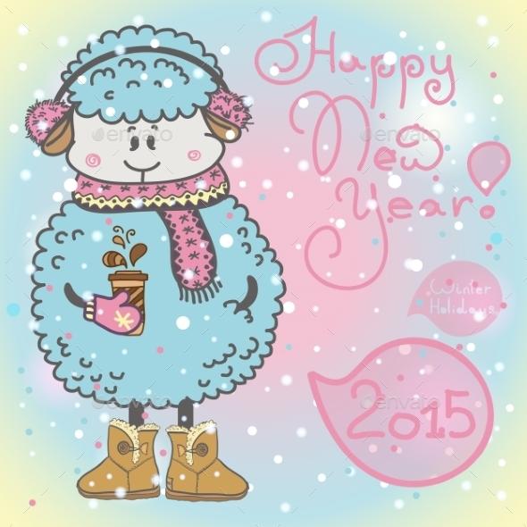 New Year Card with Cartoon Sheep  - Christmas Seasons/Holidays