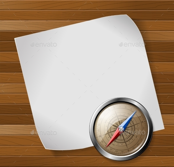 Compass and Paper Sheet over Wooden Background - Travel Conceptual
