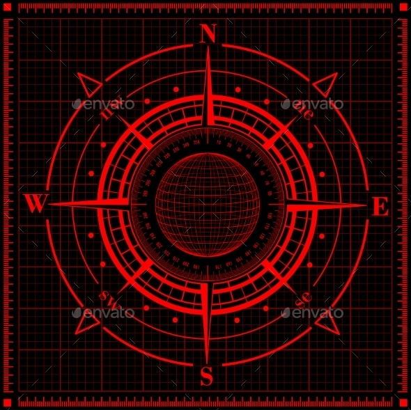Radar Compass Rose with Globe. - Technology Conceptual