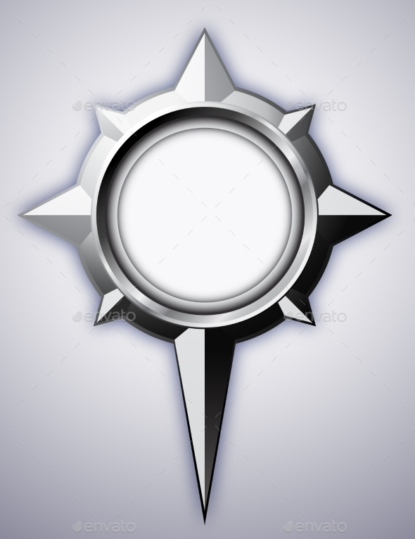 Steel Compass Rose with Shadow - Objects Vectors