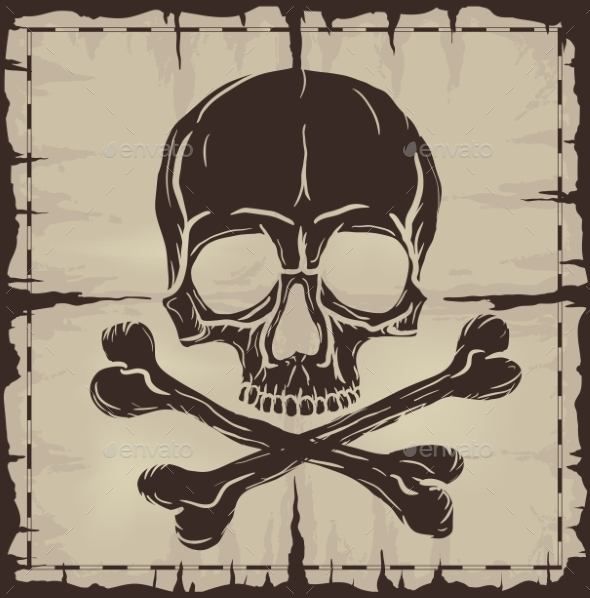 Skull and Crossbones over Old Damaged Map - Backgrounds Decorative