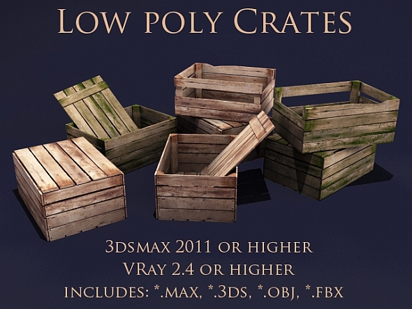 Low poly crates - 3DOcean Item for Sale