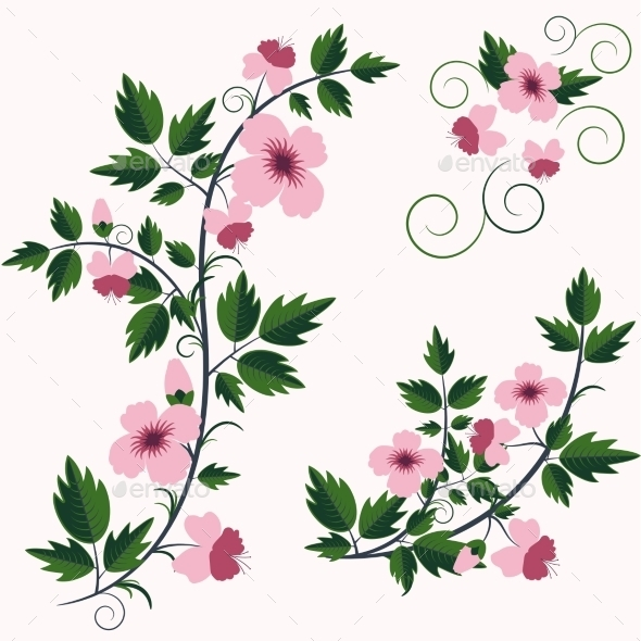 Vector Retro Floral Background with Flowers - Flowers & Plants Nature
