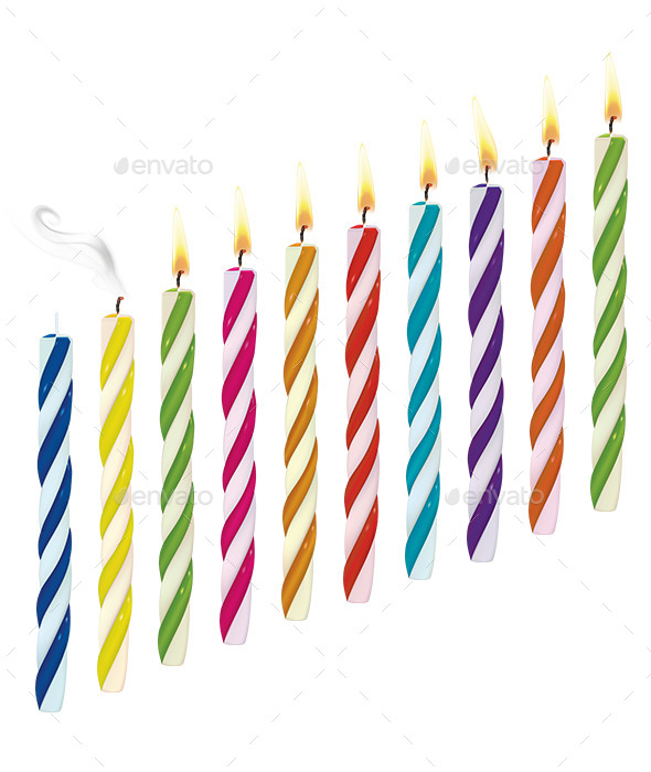 Set of Birthday Multicolored Candles - Man-made Objects Objects