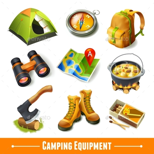Camping Icons Set - Travel Conceptual