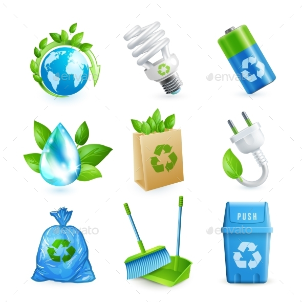 Ecology and Waste Icon Set - Industries Business